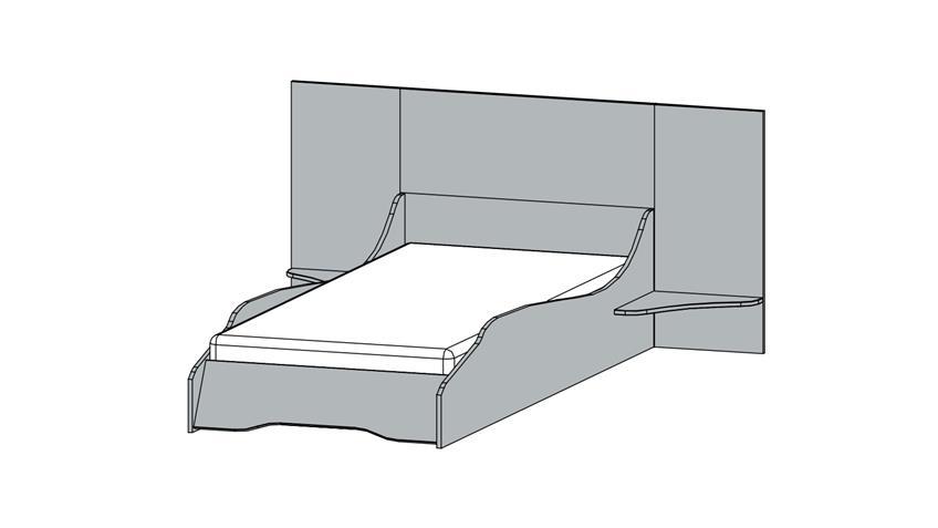 Bett MIMAS Kinderzimmerbett weiß mit Space-Motiv 90x200