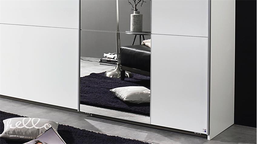 Schwebetürenschrank KRONACH in weiß mit Spiegel 261