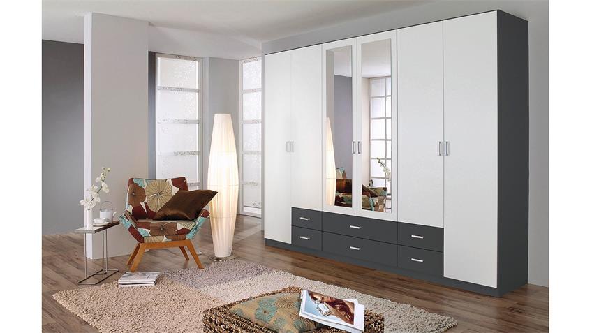 Kleiderschrank GAMMAS Schrank in weiß grau metallic 271