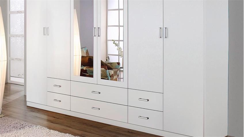 Kleiderschrank GAMMAS Schrank in weiß mit Spiegel 271