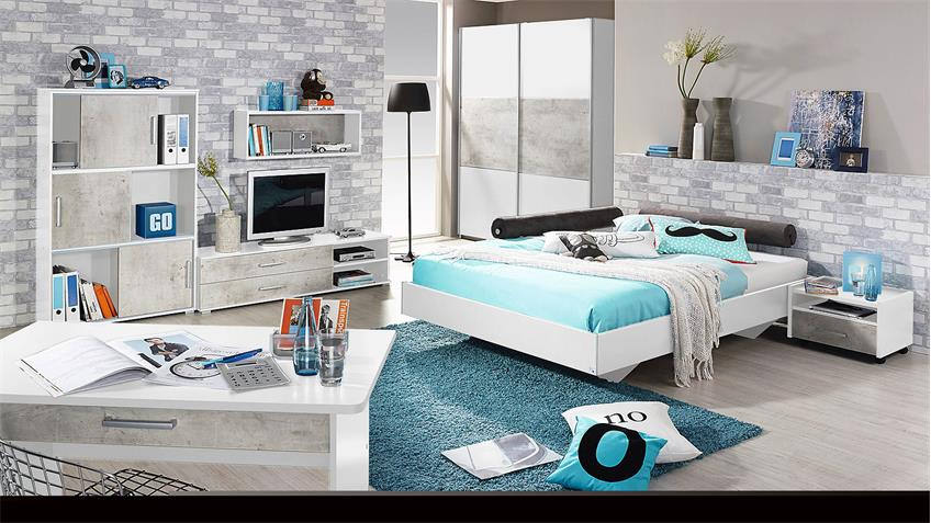 jugendzimmer set 2 mailo kinderzimmer bett schrank nako wei und beton. Black Bedroom Furniture Sets. Home Design Ideas