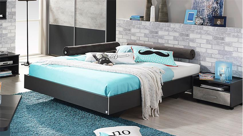 bett mailo futonbett liege f r jugendzimmer in grau metallic 90x200. Black Bedroom Furniture Sets. Home Design Ideas