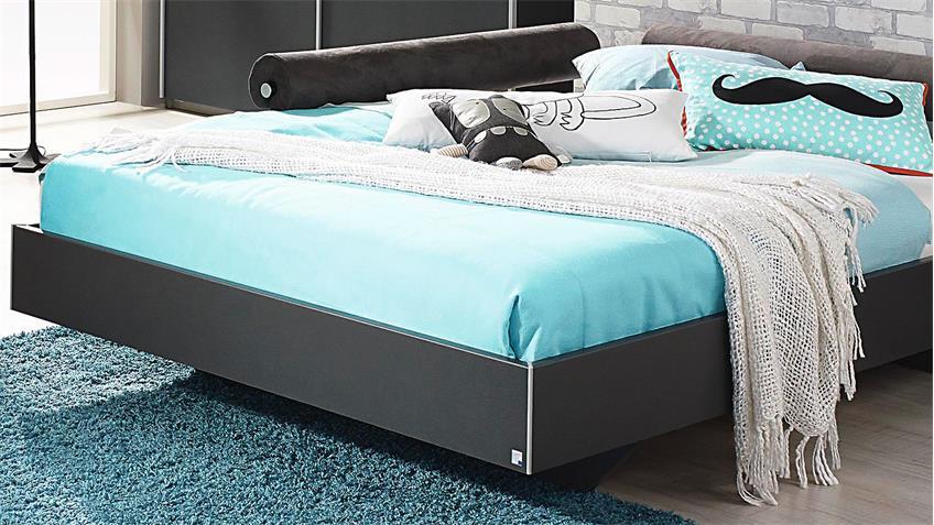 bett mailo futonbett liege f r jugendzimmer in grau metallic 90x200. Black Bedroom Furniture Sets. Home Design Ideas