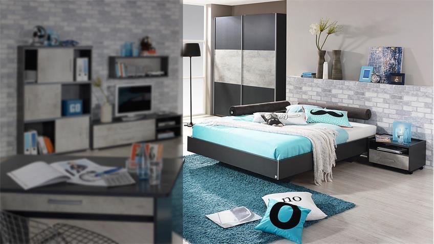 jugendzimmer set 2 mailo bett schrank nako in grau metallic und beton. Black Bedroom Furniture Sets. Home Design Ideas