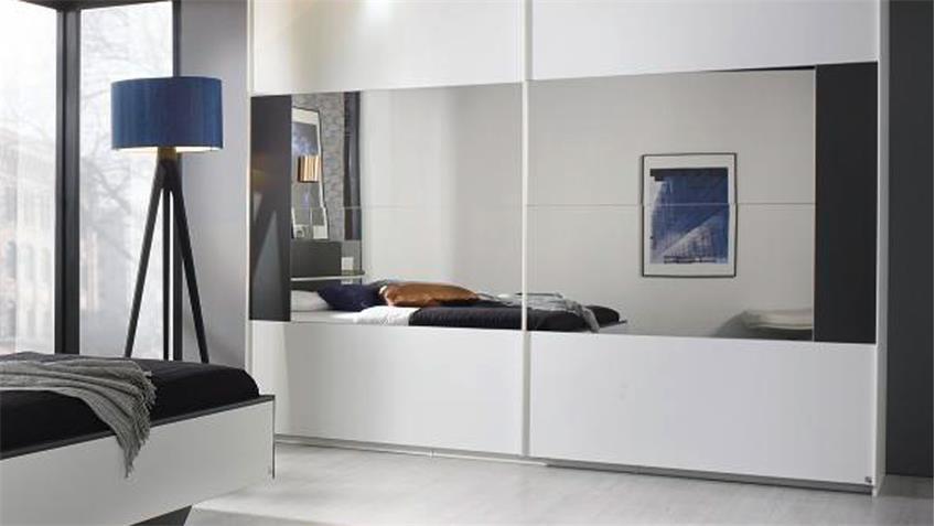 schlafzimmer set elissa bett nachttisch schrank wei graphit mit led. Black Bedroom Furniture Sets. Home Design Ideas