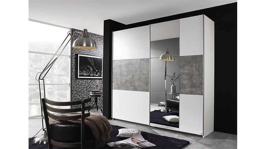 schwebet renschrank prenzlau kleiderschrank in wei und grau stone 218. Black Bedroom Furniture Sets. Home Design Ideas