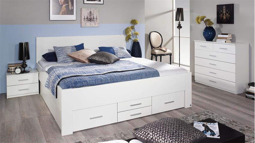 Bett ISOTTA Bettanlage Bettgestell für Schlafzimmer in weiß 180x200 cm