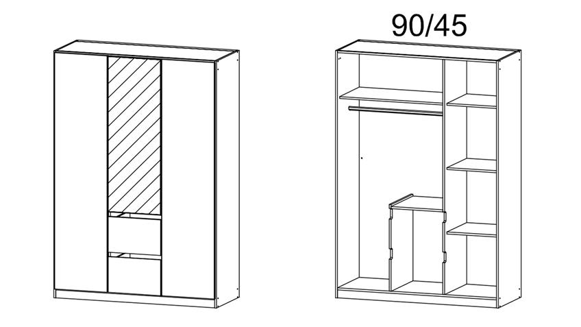 Kleiderschrank NIDDA 3-türig weiß Spiegel inkl. push-to-open 136 cm