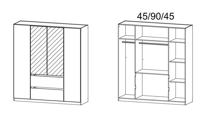 Kleiderschrank NIDDA 4-türig weiß Spiegel inkl. push-to-open 181 cm