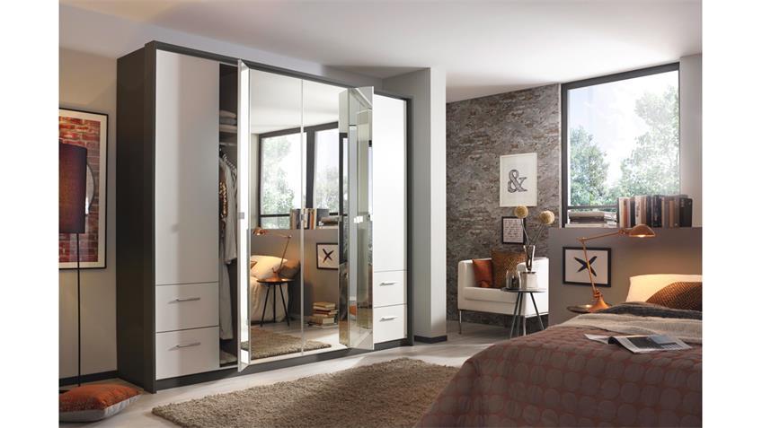 kleiderschrank reflexion dreht renschrank grau metallic wei spiegel. Black Bedroom Furniture Sets. Home Design Ideas