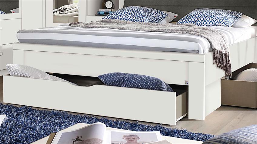 Bettanlage LINDAU Bett Schlafzimmer weiß mit Stauraum