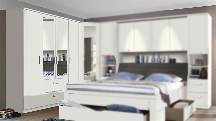 Kleiderschrank LINDAU Schrank Schlafzimmer weiß Spiegel