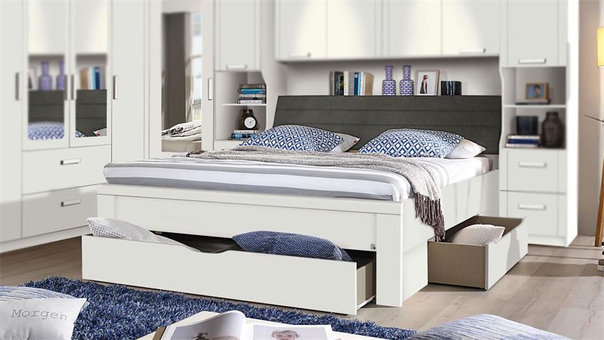 Schlafzimmer Set LINDAU Kleiderschrank Bett weiß Spiegel