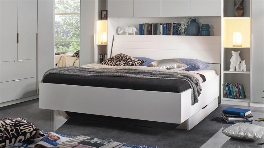 Bett MAFIS Doppelbett Schlafzimmer weiß Polsterkopfteil