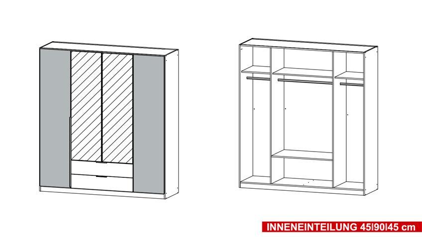 Kleiderschrank TEXAS Schrank Schlafzimmer grau weiß 181