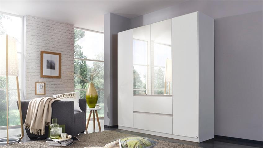 Kleiderschrank MAINZ Schrank weiß mit Spiegel 181x210 cm