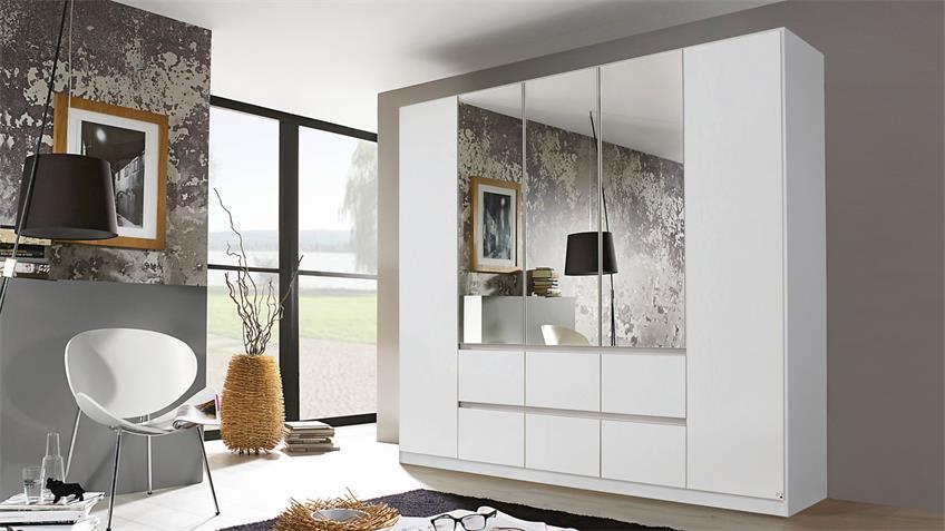 Kleiderschrank MAINZ Schrank weiß mit Spiegel 226x210 cm