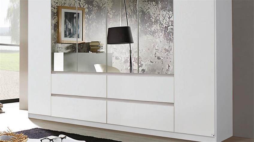 Kleiderschrank MAINZ Schrank weiß mit Spiegel 271x210 cm