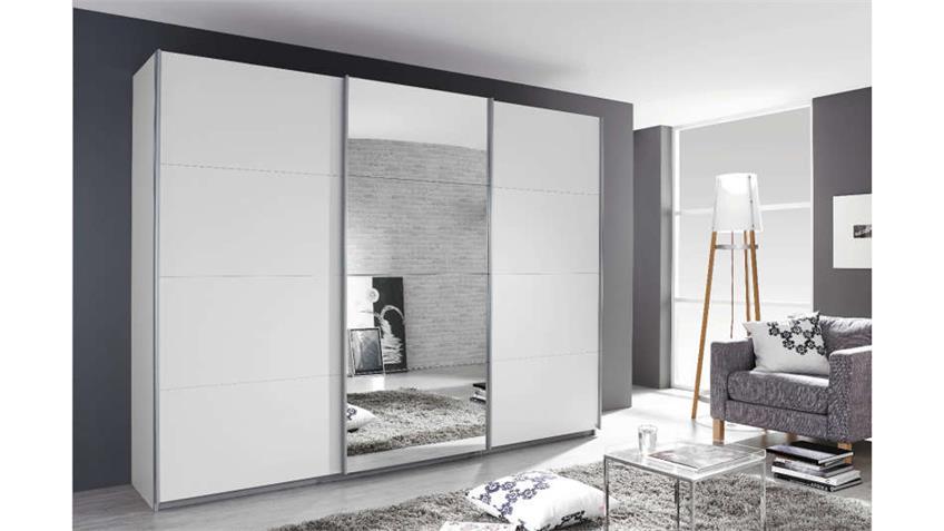 Schwebetürenschrank KLEVE Schrank in weiß Spiegel 270 cm