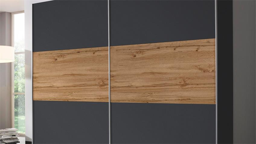 Schwebetürenschrank OSLO grau metalic Eiche Wotan 261 cm