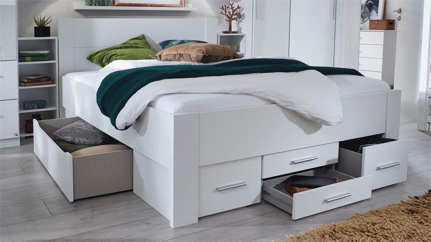 Bett ISOTTA Bettanlage Komfortbett in weiß 140x200 cm