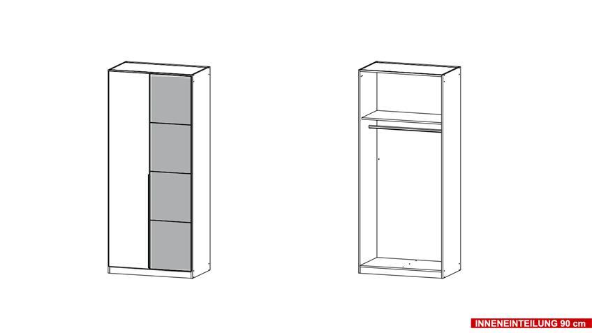 Kleiderschrank BELLEZZA weiß Hochglanz und grau 91x210