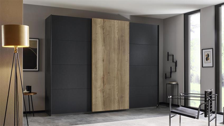 Schwebetürenschrank HALIFAX 3-trg. grau-metallic Eiche 271 cm