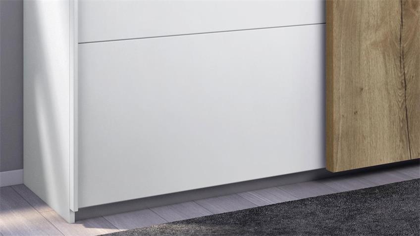 Schwebetürenschrank HALIFAX 2-trg. weiß Eiche 181 cm
