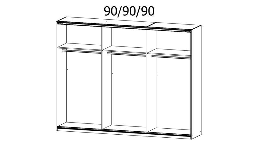 Schwebetürenschrank HALIFAX 3-trg. Glas weiß 271 cm
