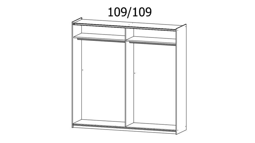 Schwebetürenschrank HALLE 2-trg. weiß Hochglanz Spiegel