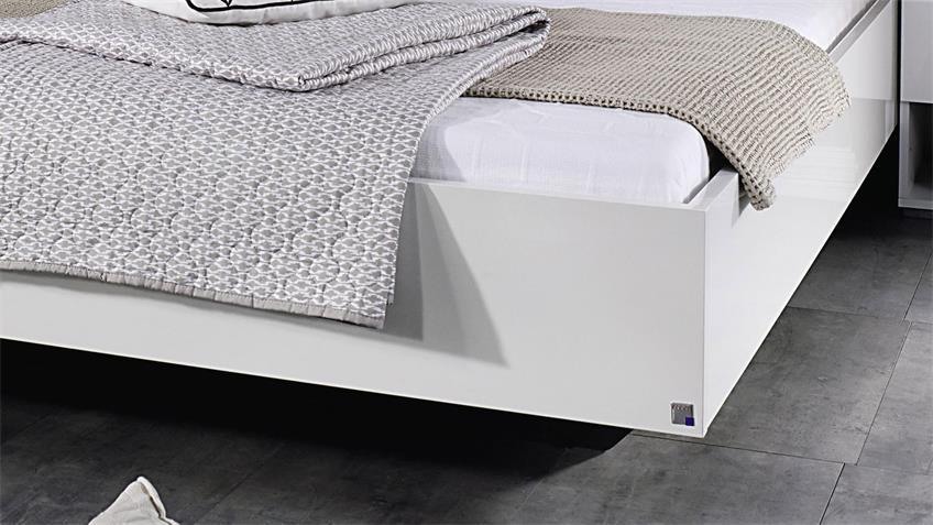 Bettanlage HALLE weiß Hochglanz Stoff hellgrau 180x200 cm