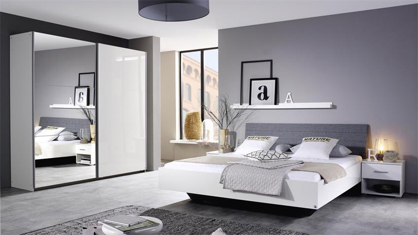Schlafzimmer HALLE 4-tlg. weiß Hochglanz grau 180x200 cm