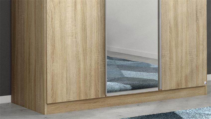 Kleiderschrank ALABAMA 3-trg. Eiche Spiegel 136 cm