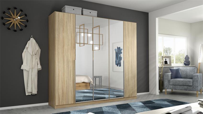 Kleiderschrank ALABAMA 5-trg. Eiche Spiegel 226 cm