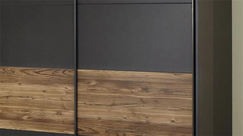 Schwebetürenschrank TOKIO 2-trg. grau-metallic Fichte 181 cm