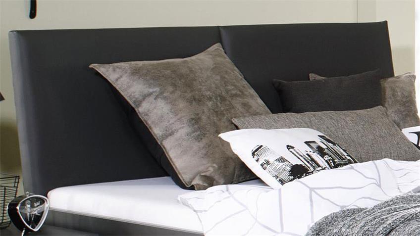 Bett TOKIO grau-metallic Fichte Polster Lederlook 140x200 cm
