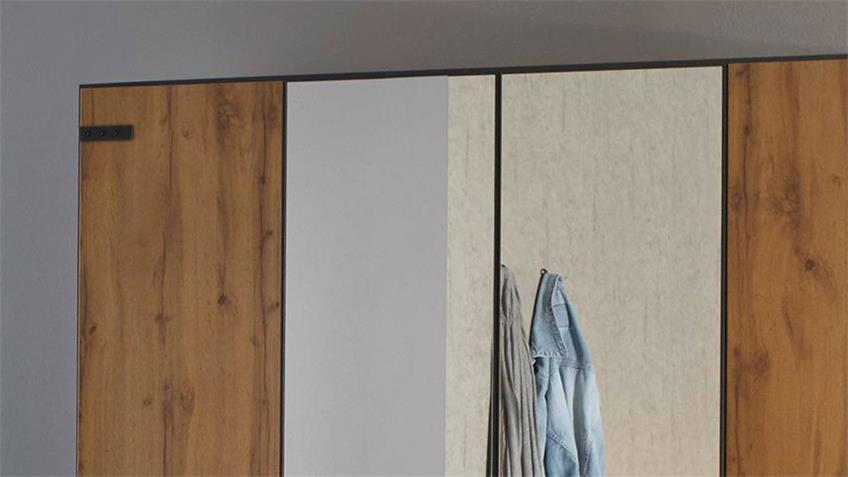 Kleiderschrank BUTTE 4-trg. Eiche grau-metallic Spiegel 181 cm