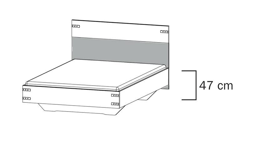 Jugendbett BUTTE Eiche Wotan grau-metallic 140x200 cm