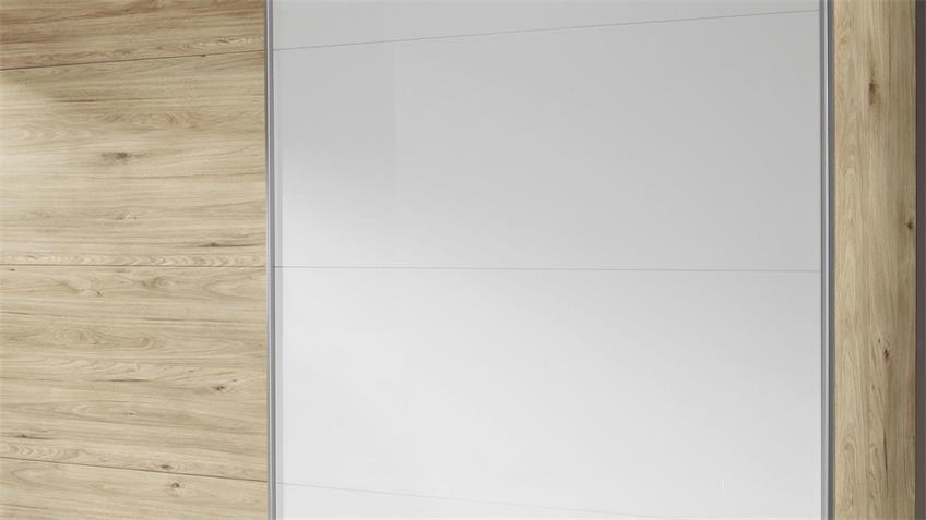 Kleiderschrank BELUGA-EXTRA Hickory weiß Hochglanz 270 cm