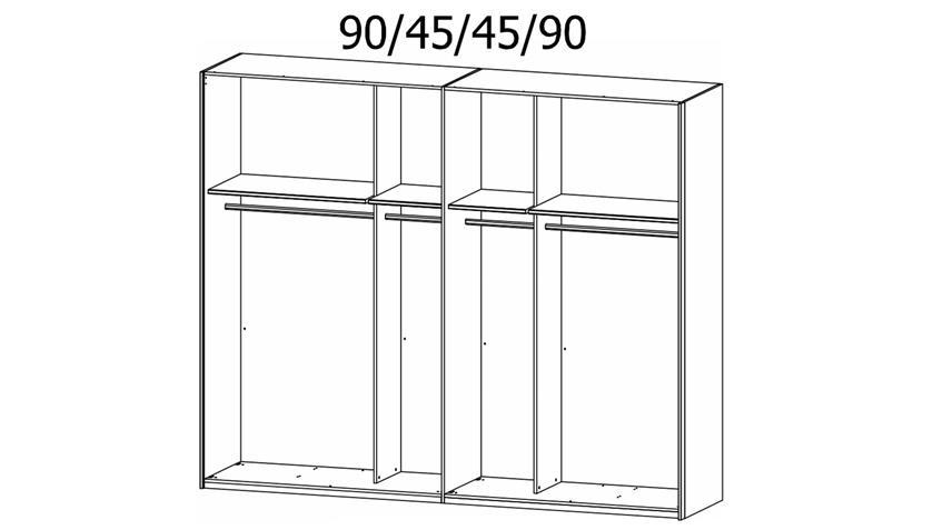 Kleiderschrank BELUGA-EXTRA Glas schwarz Spiegel 270 cm