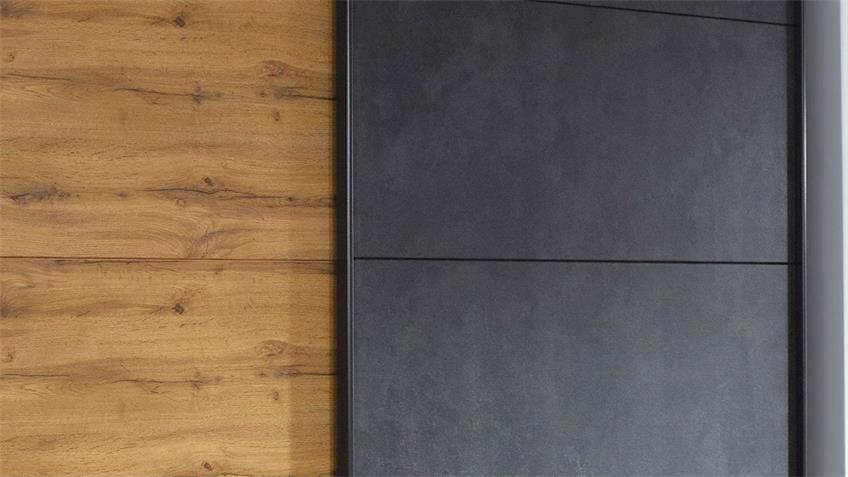 Schwebetürenschrank TAMPA Eiche Wotan anthrazit 226 cm