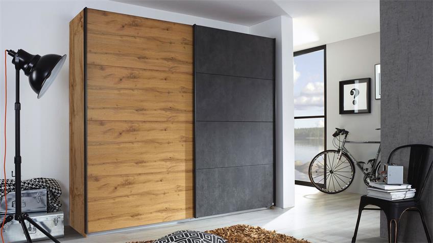 Schlafzimmer Set TAMPA 4-tlg. Eiche anthrazit 180x200 cm