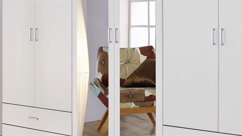 Kleiderschrank BORBONA 6-trg. alpinweiß Spiegel 271 cm
