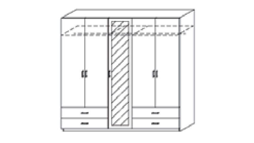 Kleiderschrank BORBONA 5-trg. Eiche lavagrau Spiegel 226 cm