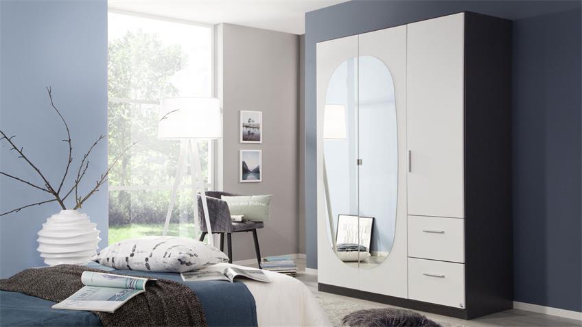 Kleiderschrank KANSAS 3-trg. weiß grau Spiegel 136 cm