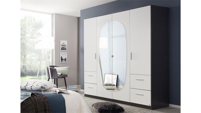Kleiderschrank KANSAS 4-trg. weiß grau Spiegel 181 cm
