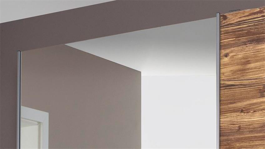Schwebetürenschrank LUZON Fichte grau Spiegel 175 cm