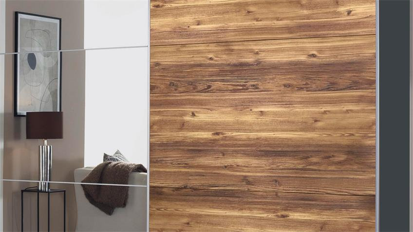 Schwebetürenschrank LUZON Fichte grau Spiegel 218 cm