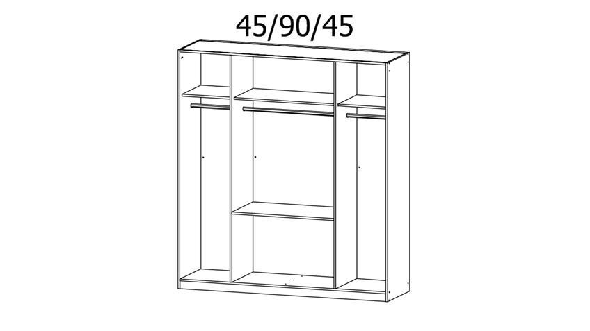 Kleiderschrank PAI 4-trg. weiß Eiche Spiegel 181 cm