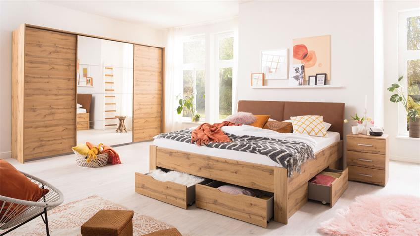 Schlafzimmer Set ADITIO QUADRA 4-tlg. Eiche 180x200 cm